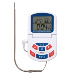Digital oven thermometer and timer with clock