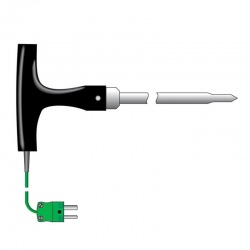 temperature probe T-shaped - asphalt or food processing