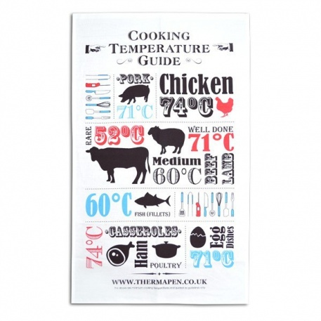 SuperFast Thermapen tea towel printed with cooking temperatures