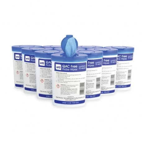 10 tubs of 70 QAC free mini probe wipes