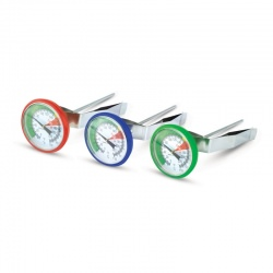 Imagén: colour-coded milk frothing thermometers - barista thermometers