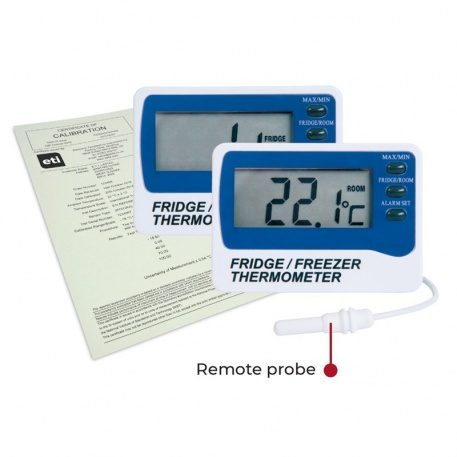 Digital Fridge or Freezer Thermometer with UKAS Calibration Certificate