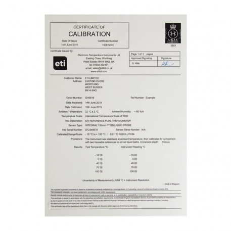 UKAS 3 point humidity certificate (25, 50, 75%rh)