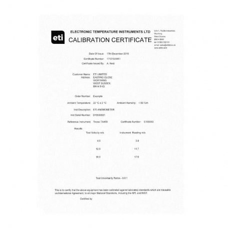 3 point traceable anemometer certificate